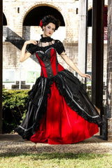 quality custom made in Australia red & black gothic corset wedding dress