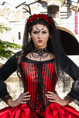 best quality pirate queen bridal gown in red and black custom made to measure