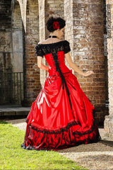 lady in red gothic wedding dress custom made in Australia to your measurements