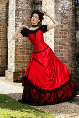 Lady in Red gothic wedding dress featuring custom sized steel bone corset