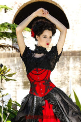 red rose gothic wedding gown includes red velvet steel boned corset made to measure