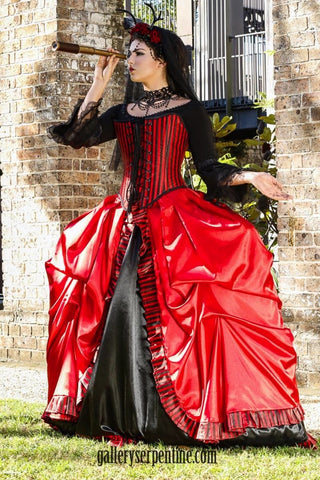 Gothic Venice Red & Black Bridal Gown