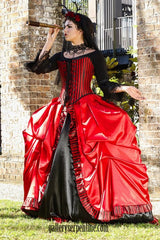 gothic venice red and black bridal gown