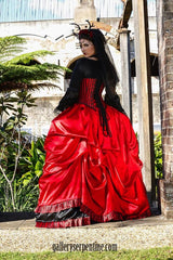 custom made to measure red and black gothic bridal gown Australia