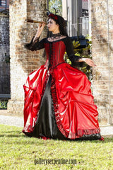 gothic venice pirate queen red and black bridal gown