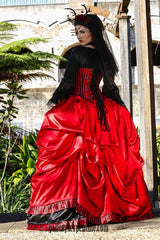 fit for a Pirate Queen wedding red satin and black trim gothic bridal gown