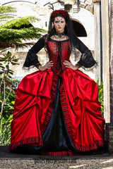 Pirate Queen red and black gothic bridal gown