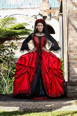 red & black gothic bridal gown with marie antoinette shape hoop