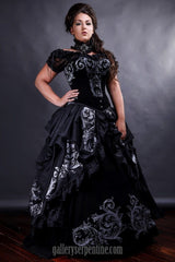 incredibly flattering baroque gothic wedding dress design for fuller figured & mature brides
