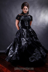 baroque gothic romance wedding dress with over bust steel boned corset