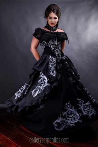 Baroque Scrolls Gothic Wedding Dress