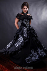 quality custom made in Australia baroque scrolls gothic wedding dress