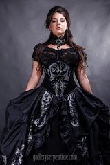 Baroque Scrolls Gothic Wedding Dress hand printed custom made in Australia