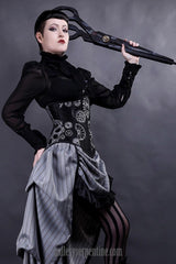 gothic steampunk model wearing the elegant silvery steampunk cogs and gears printed under bust versatile corset shape