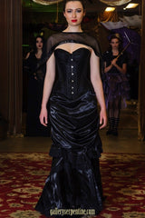 front view, soft aline at front, ebony victorian skirt, late 1880's style from black satin & lace, made to order