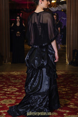 train draping on the floor, can be tied up into the ebony victorian skirt, late 1880's style from black satin & lace, made to order