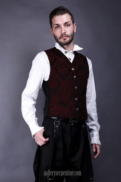 side view on male gothic model wearing the European designed and inspired victorian gentlemen's vest in dark red brocade