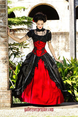 Red Rose Gothic Wedding Gown in silk taffeta and red velvet
