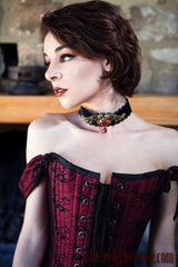 parisian gothic bridal gown with a tudor style steel boned corset