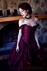 parisian gothic bridal gown featuring steel boned over bust corset