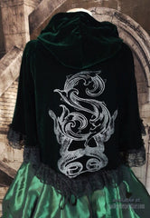 back view of deluxe Slythering Cape for Harry Potter Slytherin House cosplay costume made of dark green velvet, 62cm long, hand screen printed with double silver snakes and baroque letter S
