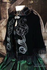 deluxe Slythering Cape for Harry Potter Slytherin House cosplay costume made of dark green velvet, 62cm long, hand screen printed with double silver snakes and baroque letter S