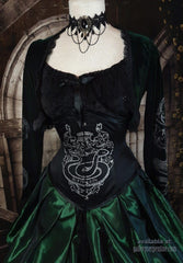 front view of the tight lacing steel boned corset as part of the victorian cosplay costume corset gown for Slytherin Harry Potter fans made to measure made in Australia, emerald and black