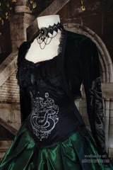 up close view of the black corset as part of the victorian cosplay costume corset gown for Slytherin Harry Potter fans made to measure made in Australia, emerald and black