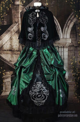full length front view of the deluxe Slythering Cape for Harry Potter Slytherin House cosplay costume made of dark green velvet, 62cm long, hand screen printed with double silver snakes and baroque letter S worn over a matching corset gown in emerald green & black