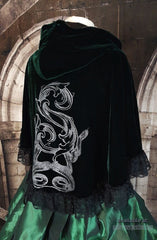 close up side view of the deluxe Slythering Cape for Harry Potter Slytherin House cosplay costume made of dark green velvet, 62cm long, hand screen printed with double silver snakes and baroque letter S