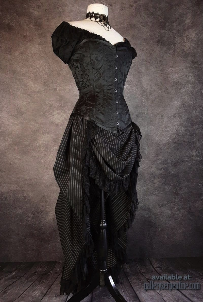 Victorian Bustle Skirt - Black Double Stripe, Lace Trim, made to order