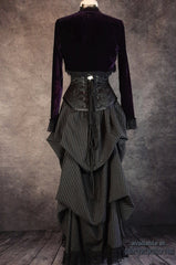 back view of the pinstripe victorian bustle skirt worn with an amethyst velvet bolero