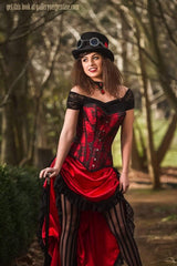 cute high low Red steampunk saloon Wild Wild West corset costume made in Australia high quality