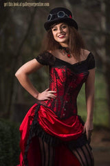 Red steampunk saloon Wild Wild West corset costume made in Australia high quality