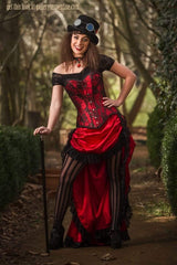 fun model in the Red steampunk saloon Wild Wild West corset costume made in Australia high quality