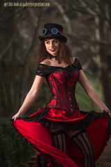 strong cinching action but comfortable to wear Red steampunk saloon Wild Wild West corset costume made in Australia high quality