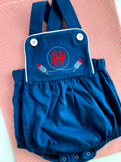 Summer Navy Bubble with Fireworks and Monogram