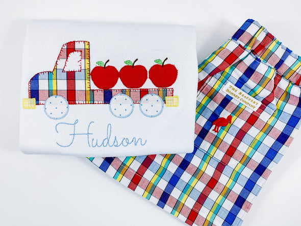 Back-To-School Apple Truck Applique Shirt