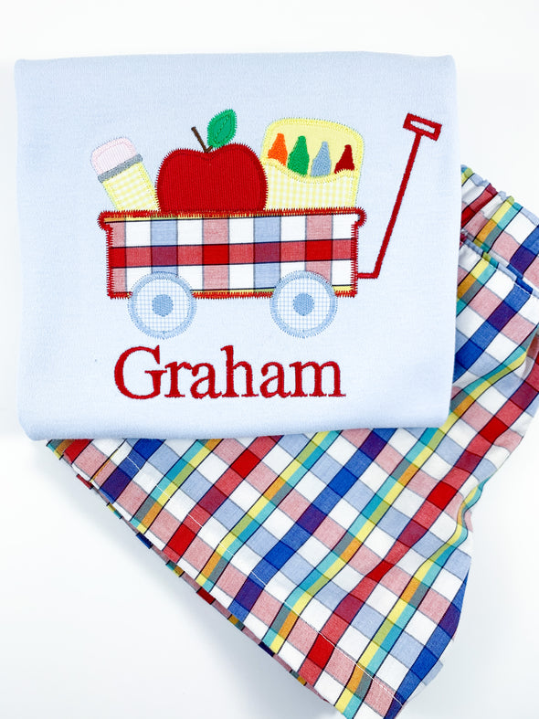 Back-To-School Wagon Applique