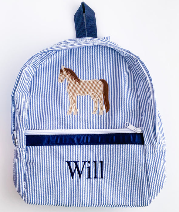 Backpack with Applique Horse and Personalization