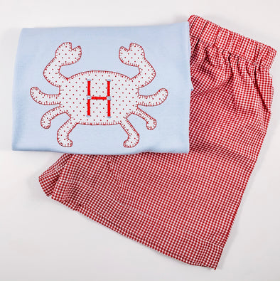 Beach Collection - Crab Applique with Initial Short Sleeve Shirt