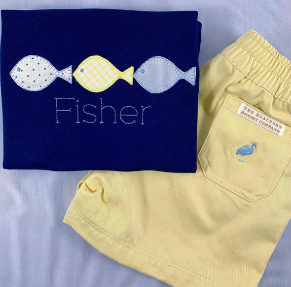Summer Fish Applique Shirt with Name