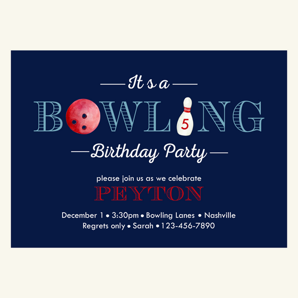 Birthday Bowling Party Invitation