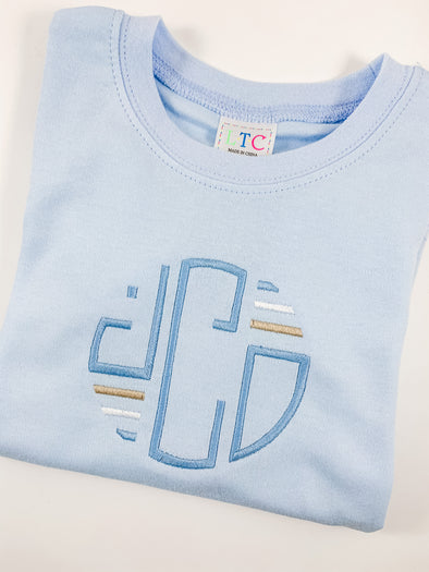 Boys Traditional Blue Tee with Monogram