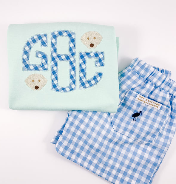 Boys Monogram with Puppy Dog Faces Shirt