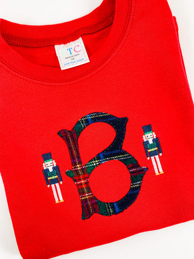 Christmas Initial Shirt with Nutcrackers