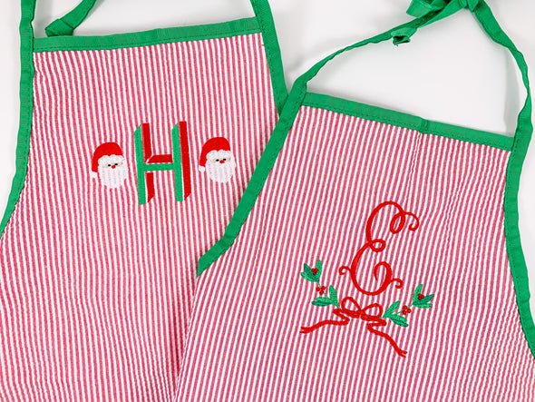 Christmas Santa or Holly Berry Frame Apron