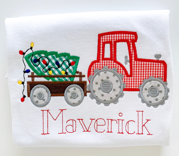 Christmas Tree and Tractor Applique Shirt