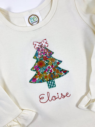 Christmas Applique Tree with Bow Shirt