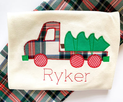Christmas Tree and Truck Applique Shirt